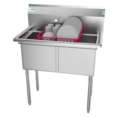 36 in. Freestanding Stainless Steel 2 Compartments Commercial Sink with Drainboard
