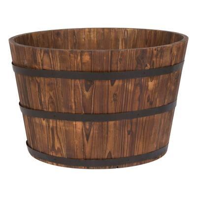 26 in. Dia x 16 in. H Brown Wood Bucket Barrel (Set of 2)