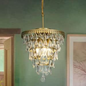 Interior Decor Glass Tear Drops 3-Lights Chandelier Pendant Ceiling Lighting In Antique Brass