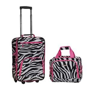 Rockland Rio Expandable 2-Piece Carry On Softside Luggage Set, Pinkzebra
