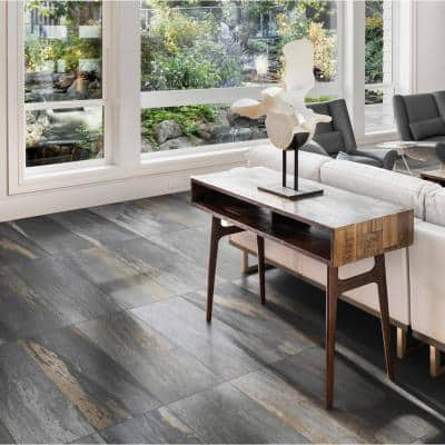 Longitude Slate Grey 12 in. x 24 in. Matte Porcelain Floor and Wall Tile (13.62 sq. ft. / case)