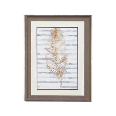 17.5 in. x 23.5 in. Brown Eclectic Decor Metallic Gold Feather Print with Stripes in Rectangular Wood Frame