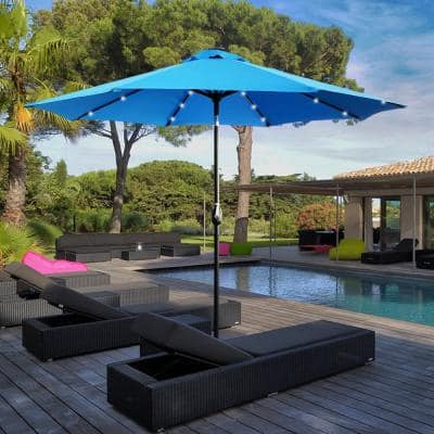 9 ft. Steel Market Crank and Tilt Round Solar Light Patio Umbrella in Aqua