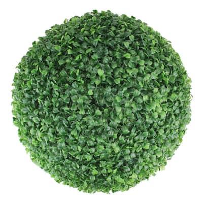 15 in. Artificial 2-Tone Green Boxwood Topiary Garden Ball