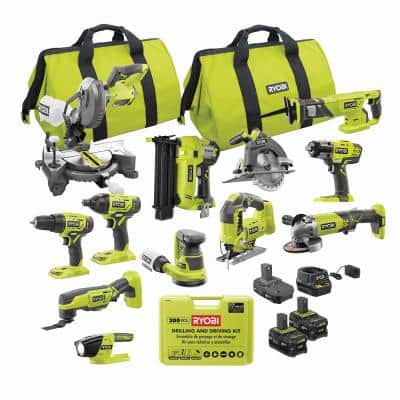 ONE+ 18V Cordless 12-Tool Combo Kit with (3) Batteries, Charger, and 300-Piece Drill and Drive Kit