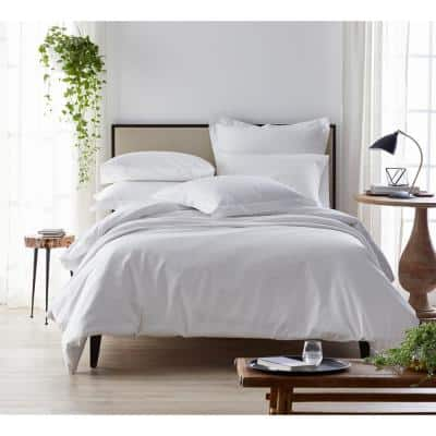 Organic Solid 300-Thread Count Cotton Sateen Duvet Cover