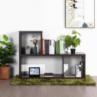 34 in. Brown Wood 3-Shelf Etagere Bookcase with Cabinets