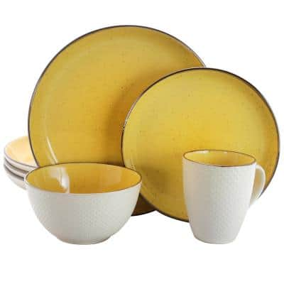 Mellow 16-Piece Country/Cottage Yellow Earthenware Dinnerware Set (Service for 4)