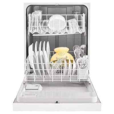 24 in. White Front Control Built-in Tall Tub Dishwasher with 1-Hour Wash Cycle, 63 dBA