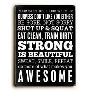 9 in. x 12 in. ''Fitness Motivation'' by Cheryl Overton ''Solid Wood'' Wall Art