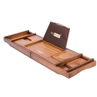 Expandable 43 Inch Bamboo Bathtub Caddy Tray in Brown with Holders, Soap Tray, Wine Glass Slot