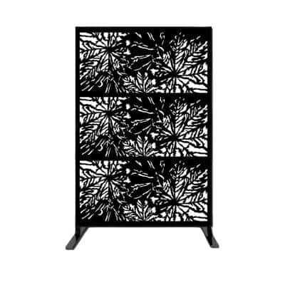 New Style MetalArt Laser Cut Metal Privacy Fence Screen, WideLeaves, Black, 24 in. x 48 in. /-Piece (3-Piece Combo)