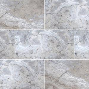 Silver 16 in. x 24 in. Rectangle Tumbled Gray Travertine Paver Tile (60 Pieces/160.2 sq. ft./Pallet)