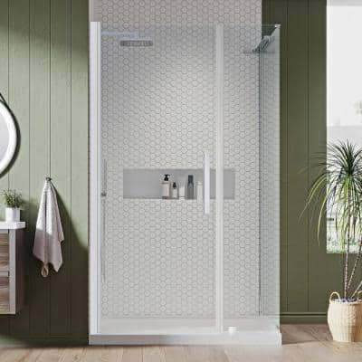 Pasadena 48 in. L x 36 in. W x 72 in. H Corner Shower Kit with Pivot Frameless Shower Door in Chrome and Shower Pan