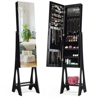 LED Jewelry Armoire Cabinet with Bevel Edge Mirror Organizer Mirrored Standing New