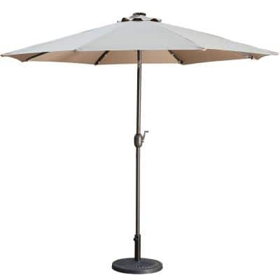 9 ft. Aluminum Market High Quality Solar LED Light Tilt Patio Beach Umbrella in Taupe Without Base