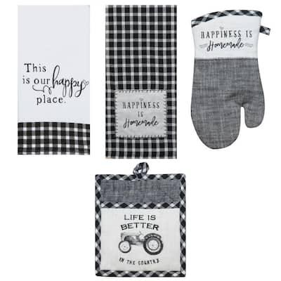 Farmhouse Cotton Black and White Kitchen Textiles (Set of 4)