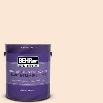 1 gal. #PPU4-09 Cafe Cream Ceiling Flat Interior Paint and Primer in One