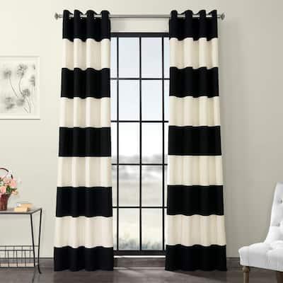 Onyx Black/Off White Striped Grommet Room Darkening Curtain - 50 in. W x 84 in. L