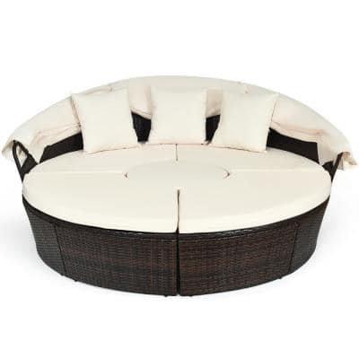 Modern 1-Piece Plastic Outdoor Day Bed with CushionGuard with Beige Cushions