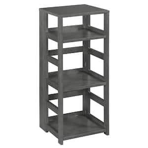 Nemus 34 in. Grey 3-Shelf High Square Folding Standard Bookcase