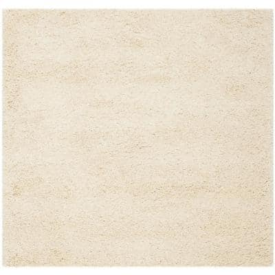 California Shag Ivory 5 ft. 3 in. x 5 ft. 3 in. Square Area Rug