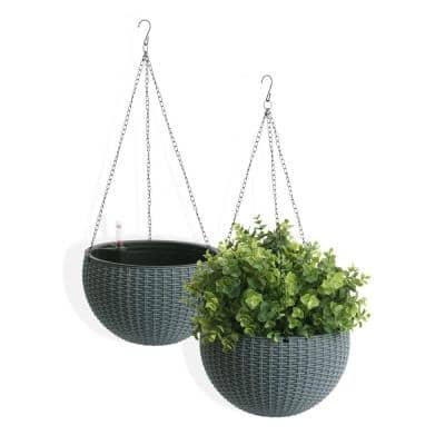 Self-Watering Wicker Gray Plastic Hanging Planter (2-Pack)