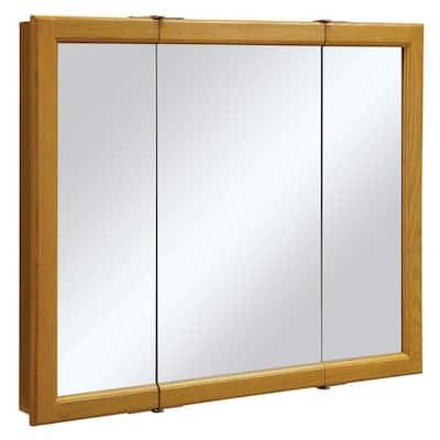 Claremont 36 in. W x 30 in. H x 4-3/4 in. D Framed Tri-View Bathroom Medicine Cabinet in Honey Oak