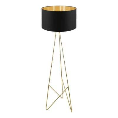 Camporale 60.63 in. Gold Floor Lamp with Black/Gold Fabric Shade