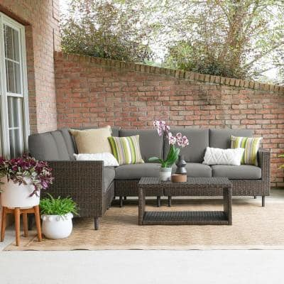 Draper 5-Pieces Wicker Outdoor Sectional with Gray Cushions
