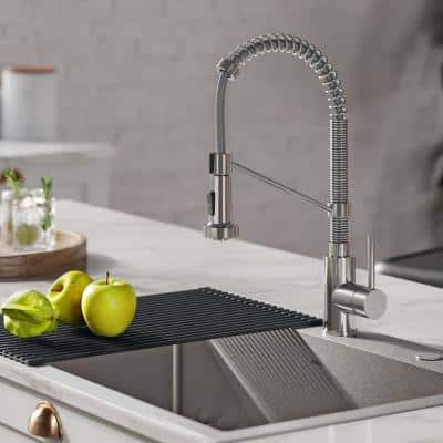 Loften All-in-One Dual Mount Drop-In Stainless Steel 33in. Single Bowl Kitchen Sink with Pull Down Faucet in Chrome