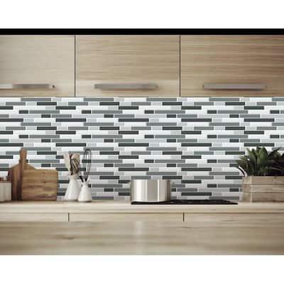 Crescendo Terra Black Gray 12 in. x 12 in. Peel and Stick Backsplash Tile (8.1 sq. ft./Pack)