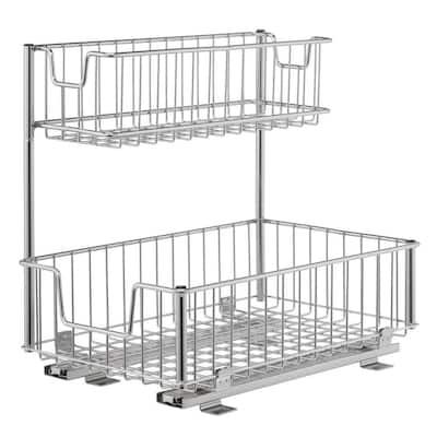 2-Compartment Sliding Wire Undersink Organizer (2-Pack)