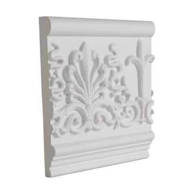 1 in. x 7-1/16 in. x 6 in. Long Decorative Leaves Polyurethane Frieze Panel Moulding Sample
