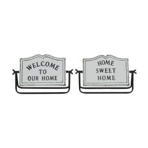 Small Black and White Welcome Home Metal Decor Signs Set of 2: 2.45 in. x 7.05 in., 2.3 in. x 6.9 in.