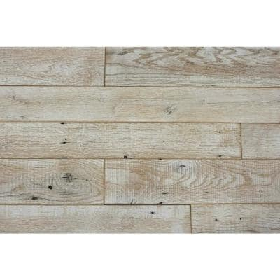 24 Sq Ft. 4 1/2 in. Width Weathered White Reclaimed Barnwood Wall Applique Planks Stick and Peel Paneling Kit