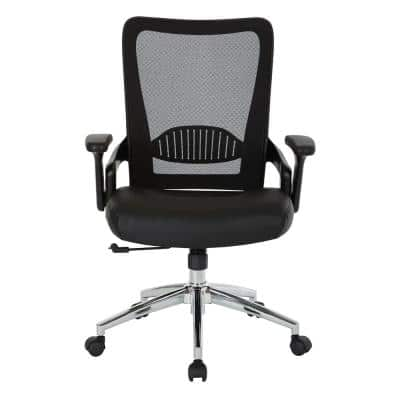 Black Bonded Leather Seat Chair with Screen Back, Lock and Tilt Arms and Chrome Base