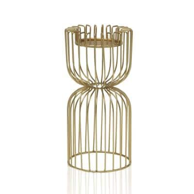 Brass 10 in. Metal Birdcage Candle Holder