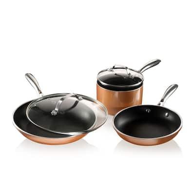 5-Piece Cast Textured Aluminum Ceramic Nonstick Cookware Set in Copper