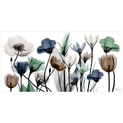 """""""Floral Landscape"""" Unframed Free Floating Tempered Glass Panel Graphic Wall Artv Print 24 in. x 48 in."""