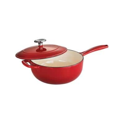 Gourmet 3 qt. Enameled Cast Iron Saucier in Gradated Red with Lid