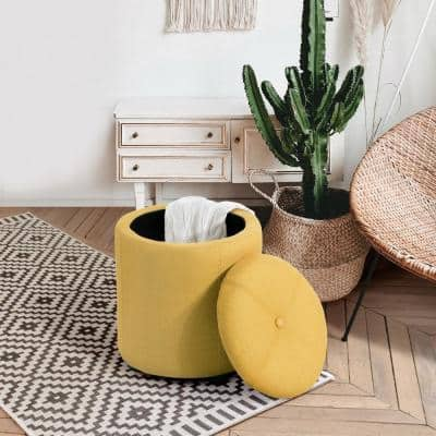 Round Storage Ottoman with Removable Lid Lift-Top Pouf Fabric, Yellow