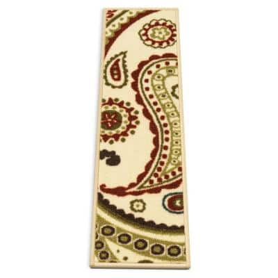 Kings Court Flora Ivory Floral Paisley Rubber Back Non-Skid 9 in. x 31 in. Stair Tread Cover (Set of 7)