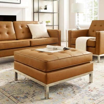 Loft Tufted Silver Tan Upholstered Faux Leather Ottoman
