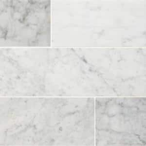 Carrara White 4 in. x 12 in. Honed Marble Floor and Wall Marble Tile (5 sq. ft./Case)