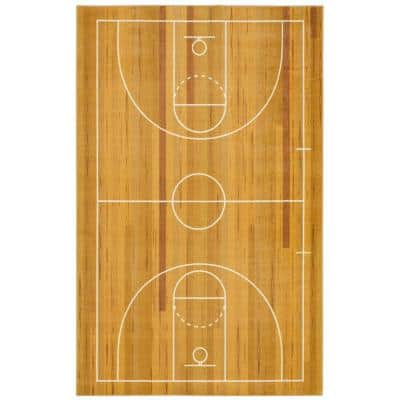 Basketball Court Tan 10 ft. x 14 ft. Contemporary Area Rug