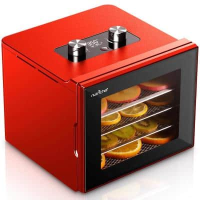 Premium 4-Tray Red Food Dehydrator Machine with Digital Timer and Temperature Control