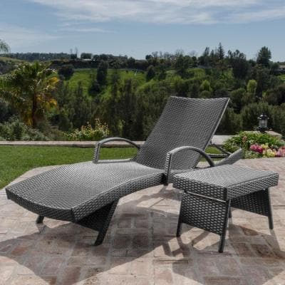 Miller Grey Armed 2-Piece Wicker Outdoor Chaise Lounge and Table Set