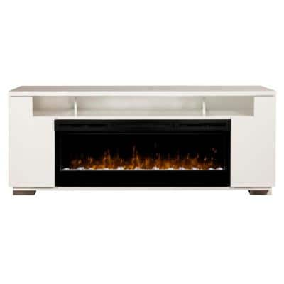 Haley 76 in. Media Console in White with 50 in. Electric Fireplace