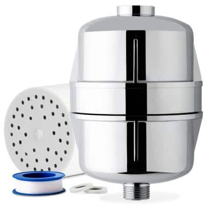 15-Stage High Output Universal Shower Filter Water Filtration System with Replaceable Cartridge in Chrome